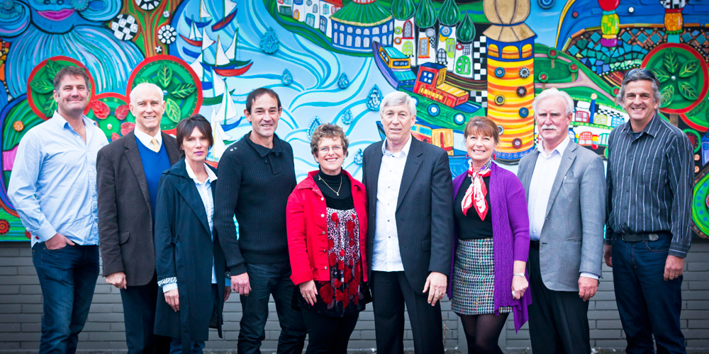 Prosper Northland Trust have formed a new Hundertwasser Art Centre project control group, which includes representatives from Whangarei Art Museum Trust, the Wairau Maori Art Gallery Board and the Hundertwasser Non Profit Foundation. (Pictured from left: Nick Keene, Ian Reeves, Christine King, Todd Barrell, Pam Tothill, Barry Trass, Jenny Hill, Greg Guy and Andrew Garratt).