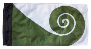 The original Koru Flag designed for New Zealand by Friedensreich Hundertwasser.