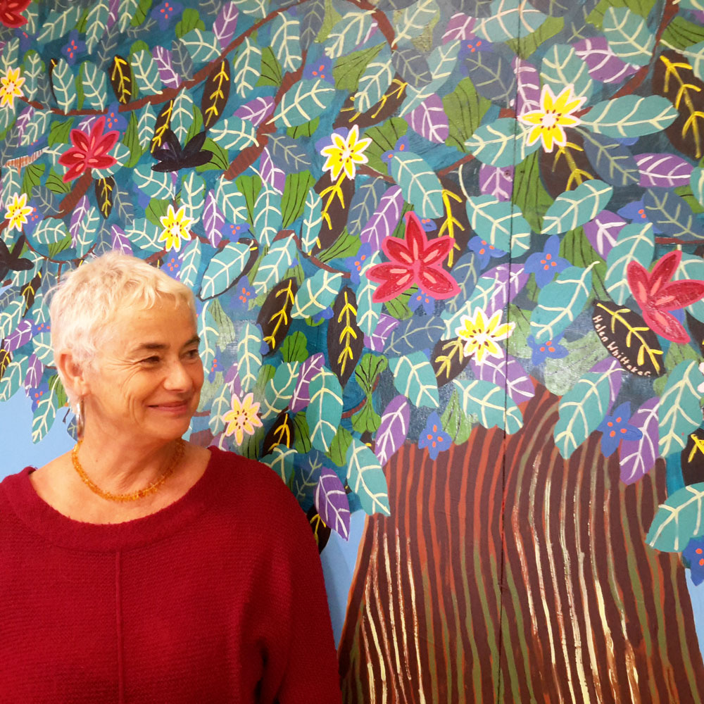 """Bridget Oakley Stevens has created the beautiful 'Tree Of Life' for the revamped HQ. Bridget recently moved to Whangarei from Waiheke and says she is just """"so chuffed"""" to have been asked to produce this painting for the project."""