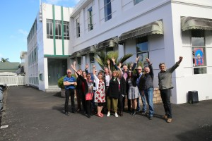 The Project Action Team in front of the future Hundertwasser Building