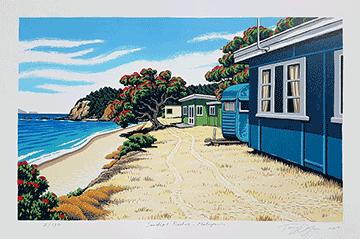 Tony Ogle Print - Sandspit Baches – Matapouri
