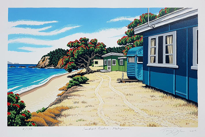 Tony Ogle Print: Sandspit Baches - Matapouri